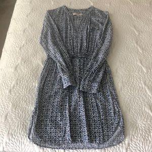Loft Long Sleeve V Dress With Tie
